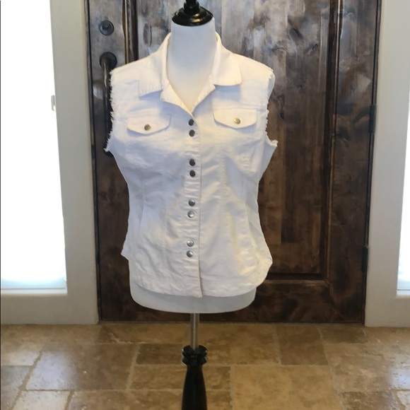 Dress Barn Jackets & Blazers - White denim vest